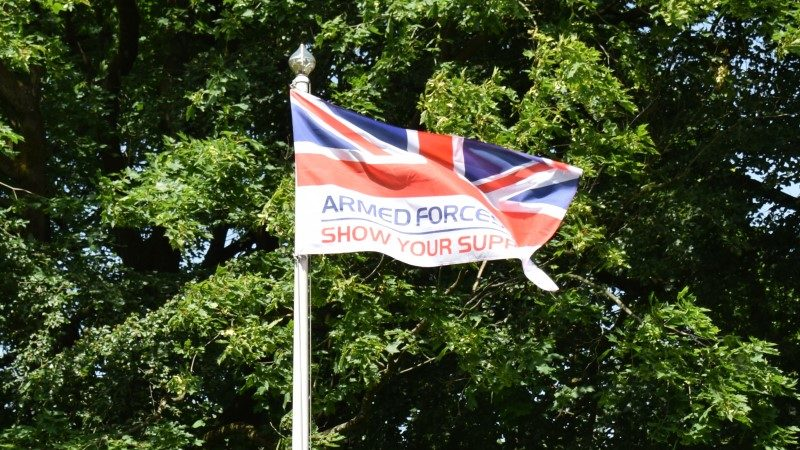 Armed forces flag waving in front of trees