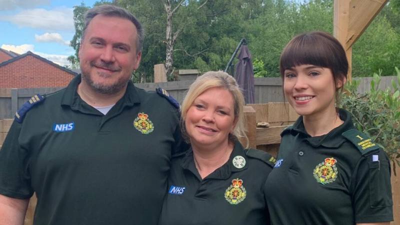 Brian, Angie and Yasmin in their NWAS uniform