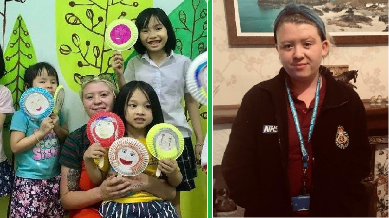 A picture of Emergency Medical Dispatcher Erin teaching in Vietnam, and a second picture of Erin in NWAS uniform